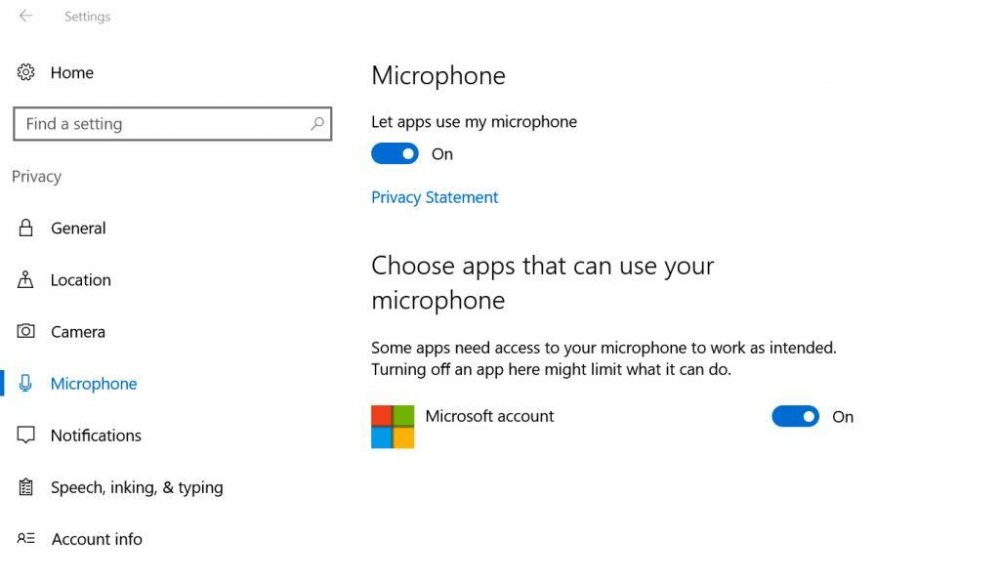 Windows 10 microphone permissions