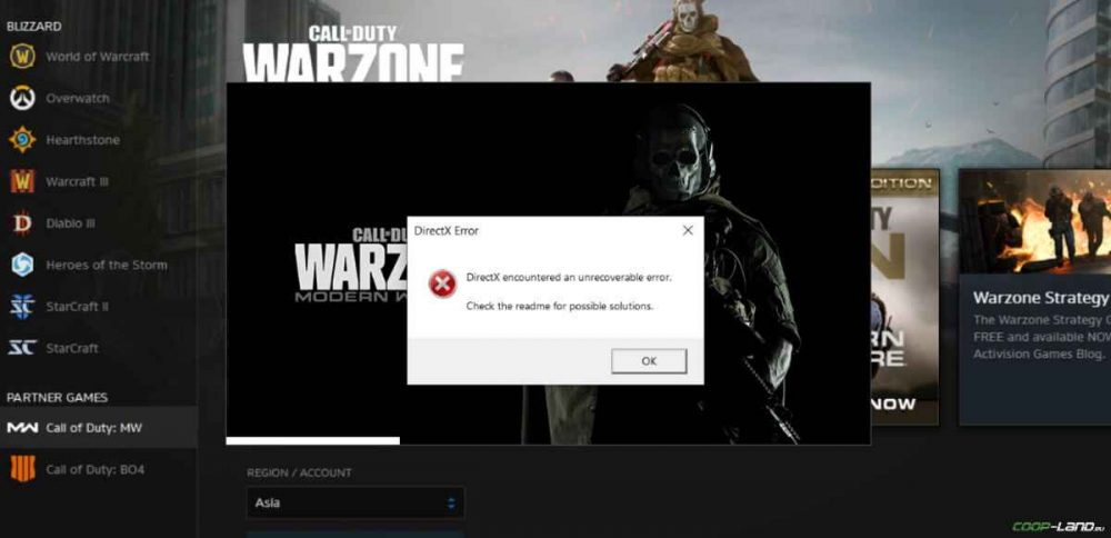 cod warzone DirectX error