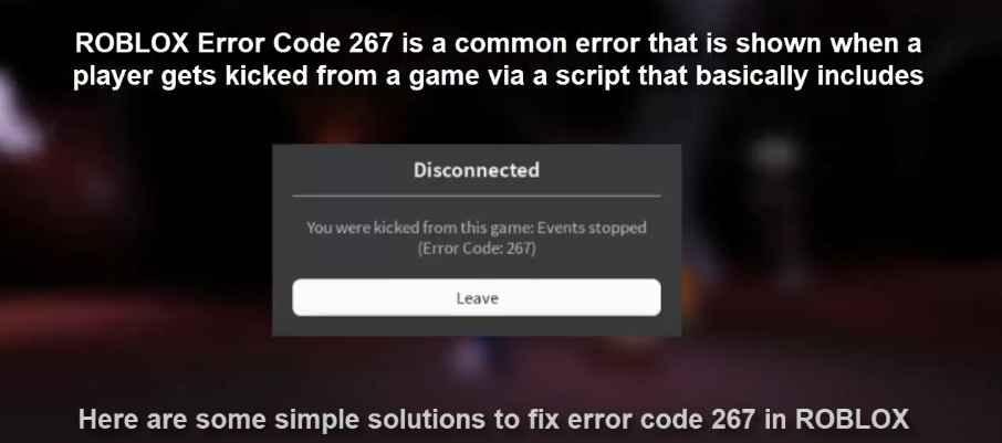 Roblox error code 267 message